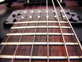Guitar strings frets and pick ups — Stock Photo