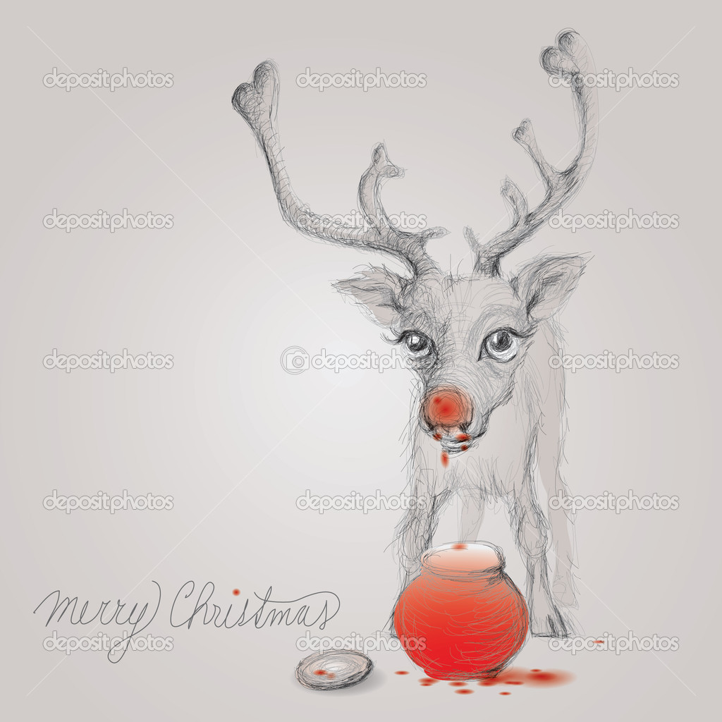 Reindeer Baby with Red Nose from marmalade — Stock Vector #6749964