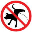 Sign with pissing dog — Stock Vector
