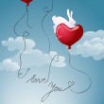 Bunny on heart balloon — Stock Vector