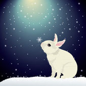 Cute bunny in snow — Stock Vector