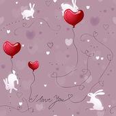 Romantic Texture with Rabbits — Stock Vector