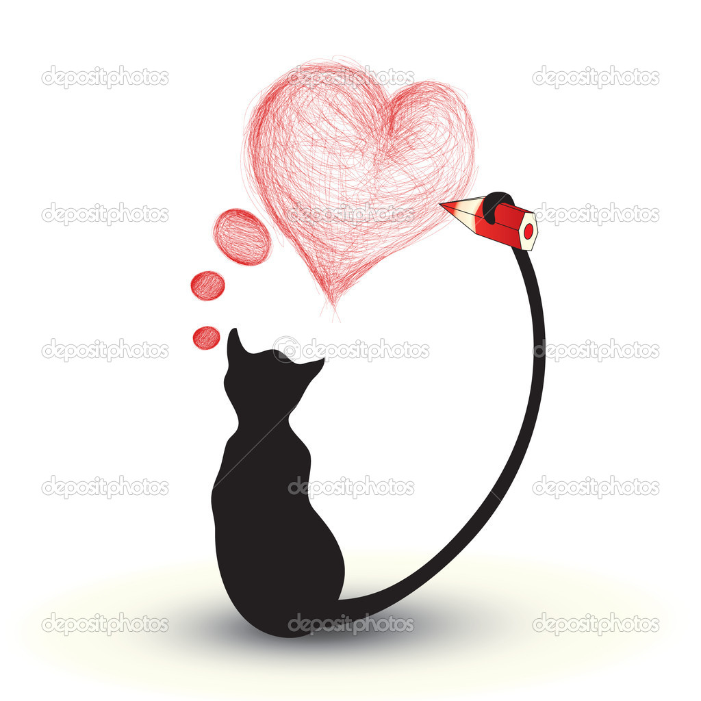 cat drawing a heart stock vector muamu 6774992. Black Bedroom Furniture Sets. Home Design Ideas