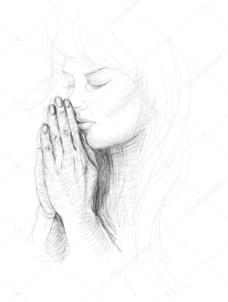 Girl Praying Drawing