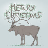 Reindeer / Merry Christmas Card — Vector de stock