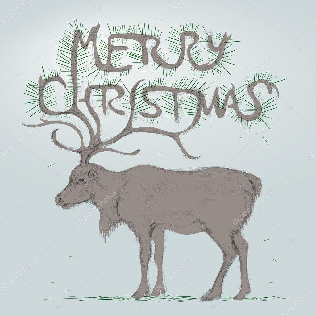 Download - Reindeer / Merry Christmas Card — Stock Illustration ...