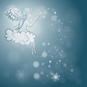 Angel makes snowflakes — Stock Vector
