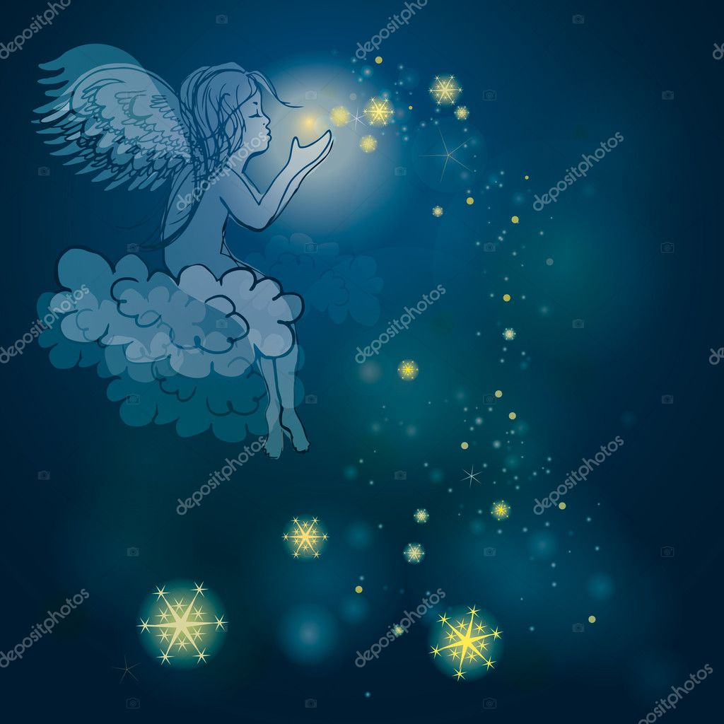Night sky background with cute cherub — Stock Vector #7425965