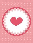 Cute heart card with polka dots background, vector illustration — Stock Vector