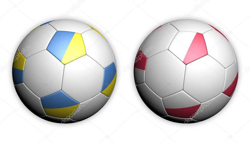 Football championship Euro 2012 soccer ball with Poland and Ukraine flags — Stock Photo #7143027