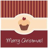 Vector dark red christmas card with muffin cupcake and heart — Stock Vector