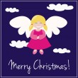 Vector card or invitation for Christmas with sweet angel girl — Stock Vector