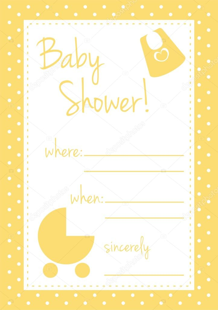 Vector baby shower card or invitation yellow unisex — Stock Vector ...