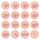 Retro vector pink sale icons, tag stickers or labels isolated on white background — Stock Vector