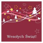 Red vector christmas card with wishes in polish — Stock Vector