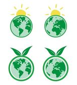 Vector ecology icons with planet Earth and sun — Stock Vector