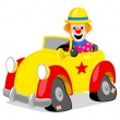 Clown With His Car — Stock Vector