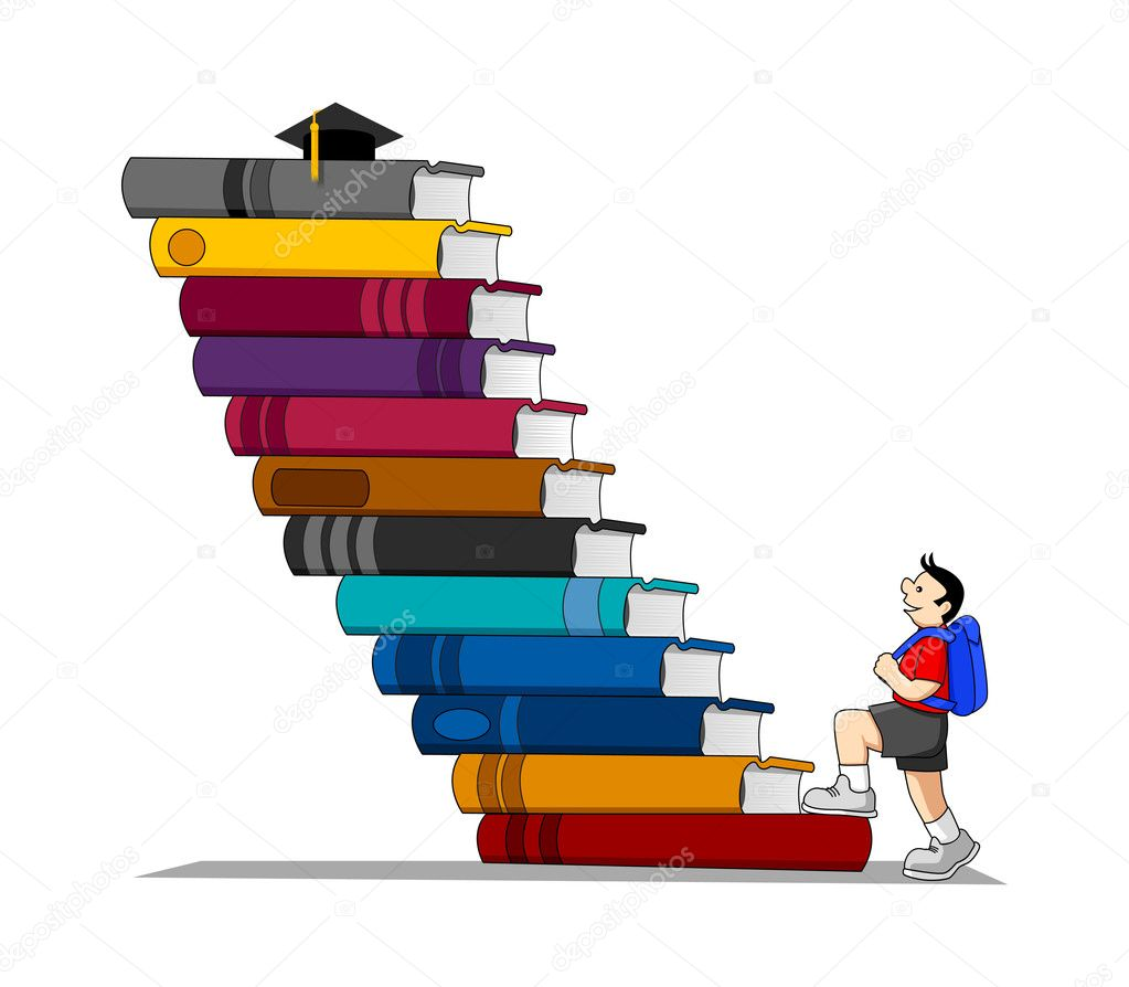 Cartoon illustration of a boy who climbing the stairs made of books — Stock Vector #6852483