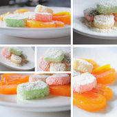 Desserts with turkish delight & persimmon — Photo