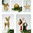 Christmas decorations collage — Stok fotoğraf