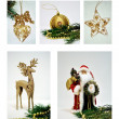 Christmas decorations collage - Stok fotoğraf