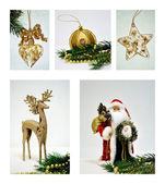 Christmas decorations collage — ストック写真