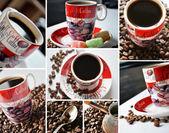 Kahve zamanı kolaj — Stok fotoğraf
