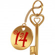 3D golden key to love - Stok fotoğraf