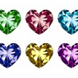 Heart-shaped gems set — Vettoriali Stock