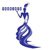 Graciösa silhuetten av en dam i blå färger — Stockvektor