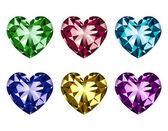 Set di gemme a forma di cuore — Vettoriale Stock