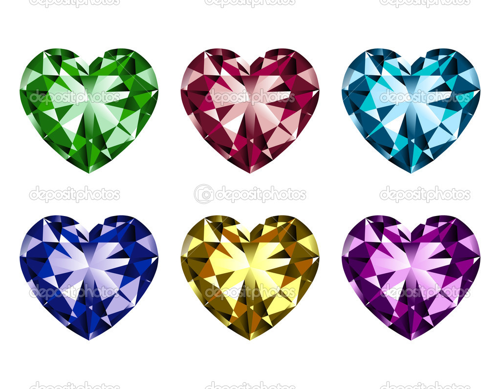 Illustration of heart-shaped gems isolated on a white background. — Stock Vector #7588595