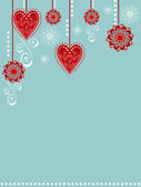 Background with hearts and flowers — Vector de stock