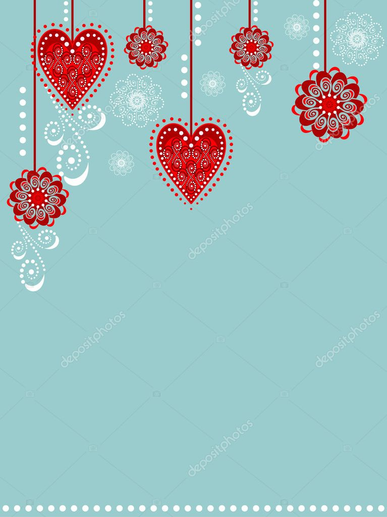 Illustration with sweet floral and hearts decoration.  Vektorgrafik #7669936