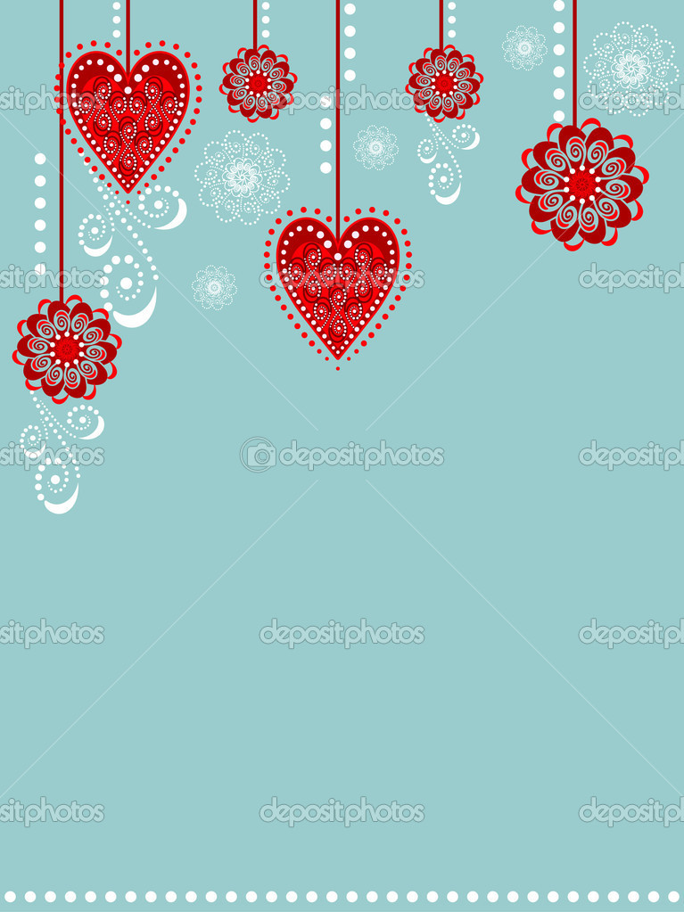 Illustration with sweet floral and hearts decoration.  Stockvektor #7669936