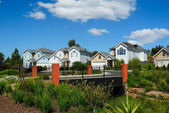 Row of bright town homes — Stock Photo