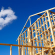 Detail of house frame under construction - Stock Photo