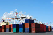 Port cranes and stacks of shipping containers — Stock Photo