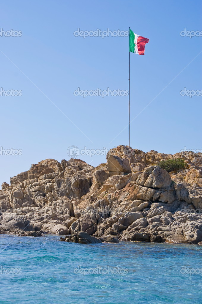 Italian flag on the rock, Sardinia  Stock Photo #6831267