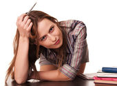 Young teacher thinking leaned on the desk — Stock Photo