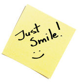 Sticky note just smile! — Stock Photo