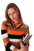 Young woman ready for class holding books — Foto Stock