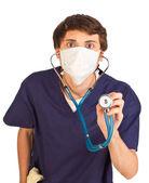 聴診器で医療労働者の不安 — ストック写真