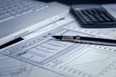 Analyzing financial charts and documents — Stock Photo