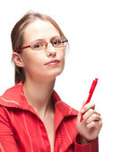 Young woman with pen — Stock Photo