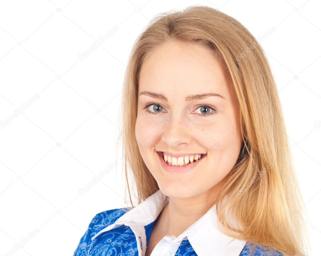 Happy business woman looking in camera and smiling — Stock Photo #7458550
