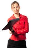 Happy businesswoman giving folder — Stock Photo