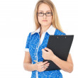 Confident business woman with clipboard — Stock Photo #7540092