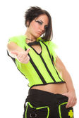 Young woman punk in bright clothes shows gesture — Stock Photo