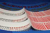 Cards on blackjack table in casino — Stock Photo